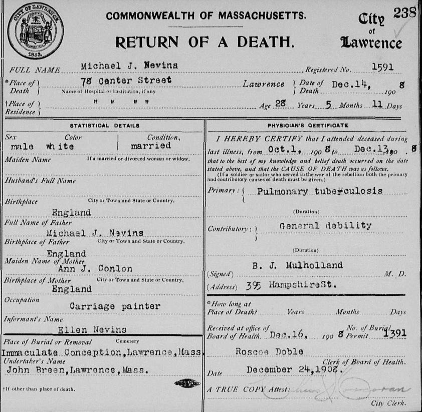 Michael Nevins Death Cert 1908