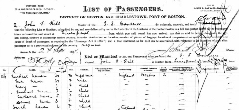 S.S. Borderer Passenger List (Cropped) Sept. 24, 1884